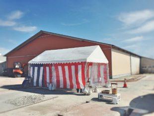 地鎮祭2間×3間テント設営②